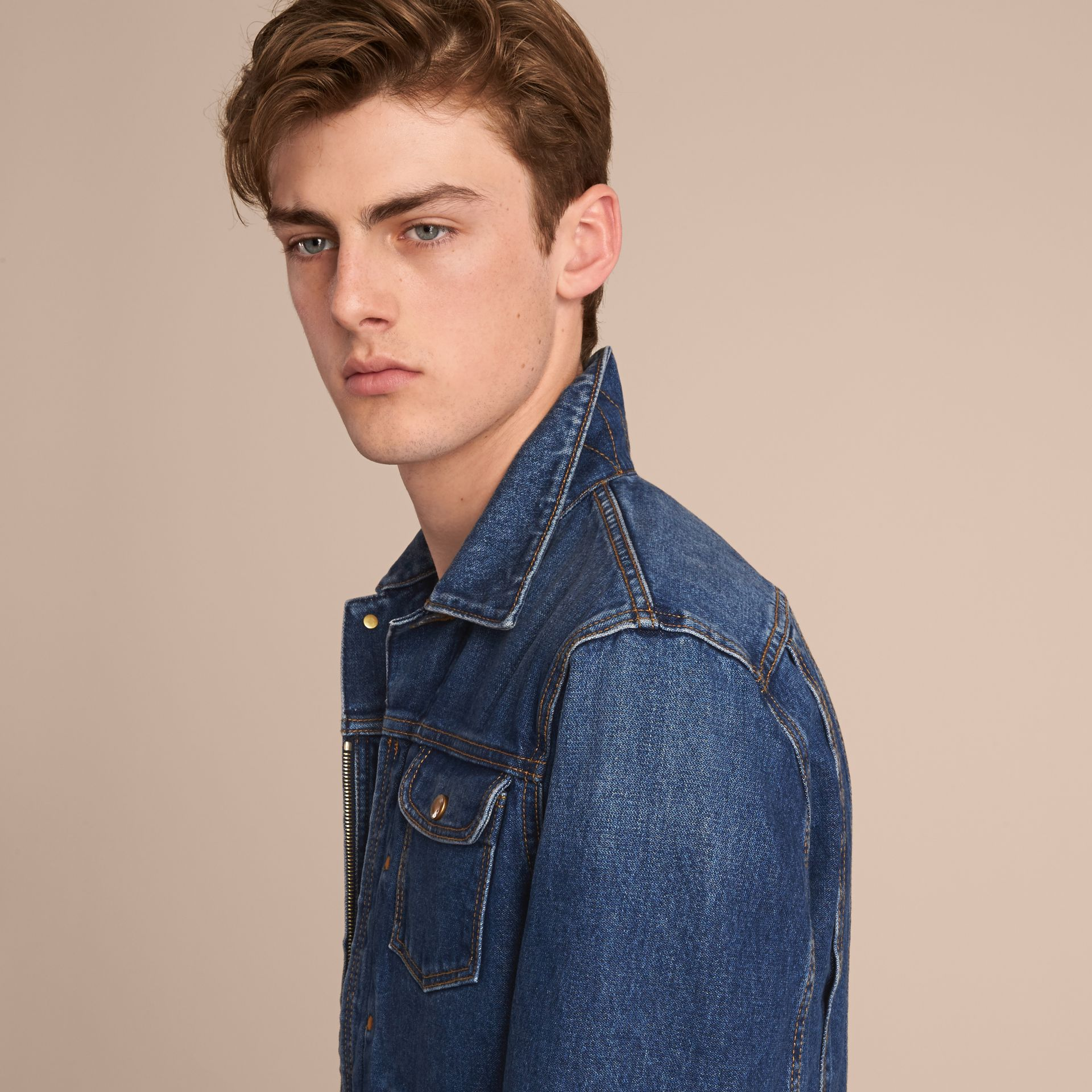 Zip-front Cropped Denim Jacket in Mid Indigo - Men | Burberry - gallery image 5