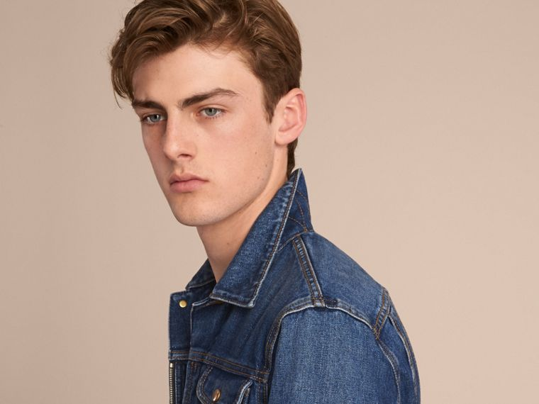 Zip-front Cropped Denim Jacket in Mid Indigo - Men | Burberry - cell image 4