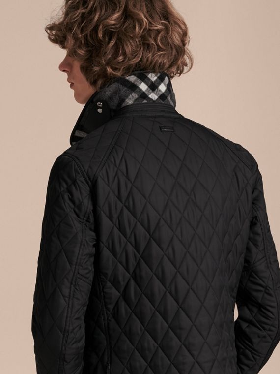 Leather Piping Corduroy Collar Quilted Jacket Black - cell image 2