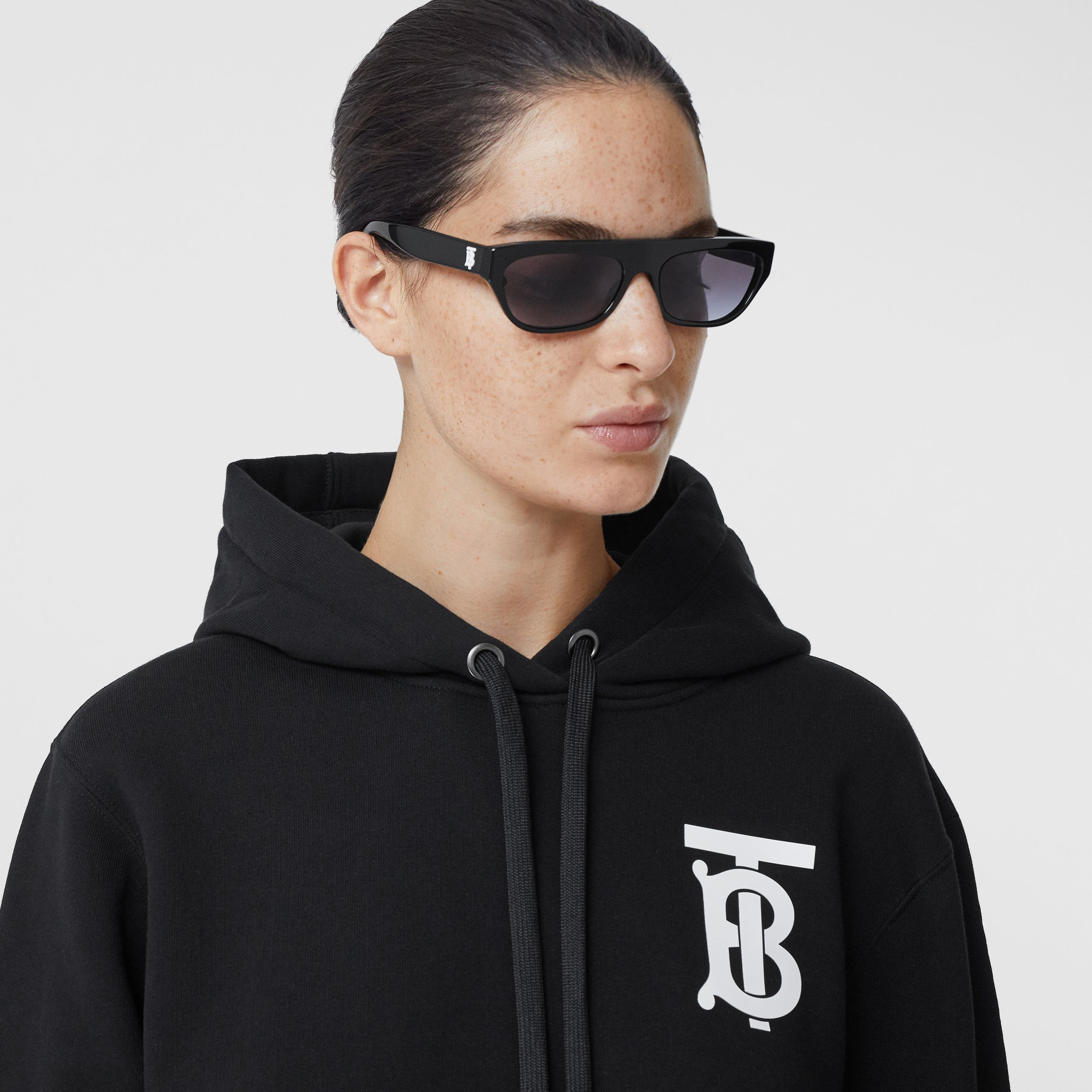 Monogram Motif Cotton Hoodie in Black - Women | Burberry Hong Kong S.A.R. - 2