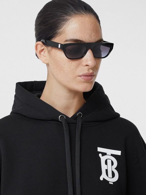 Monogram Motif Cotton Hoodie in Black - Women | Burberry - cell image 1