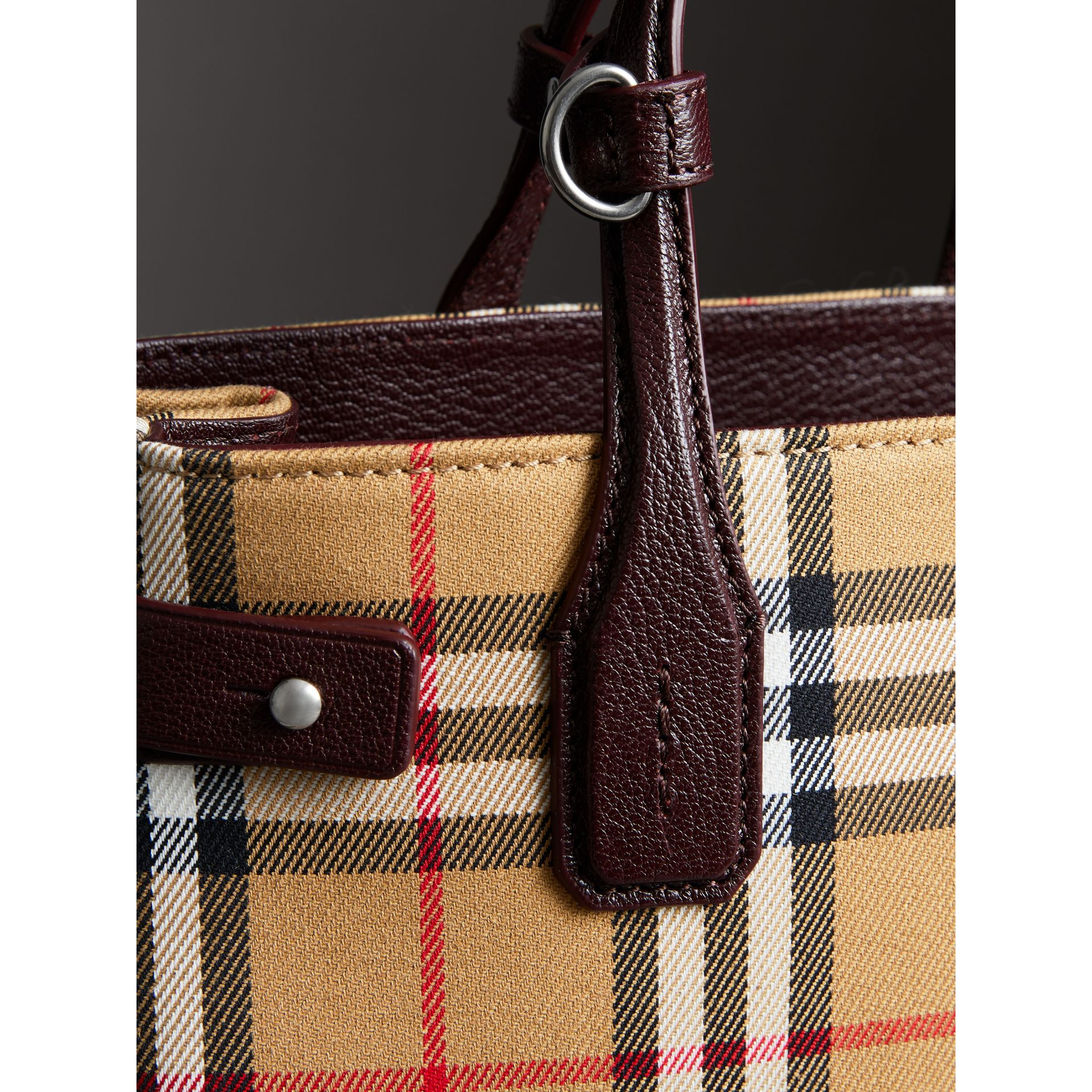 The Small Banner in Vintage Check and Leather in Deep Claret - Women | Burberry United Kingdom - gallery image 1