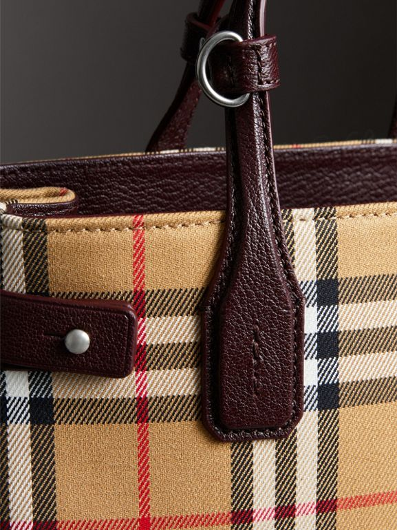 The Small Banner in Vintage Check and Leather in Deep Claret - Women | Burberry United Kingdom - cell image 1