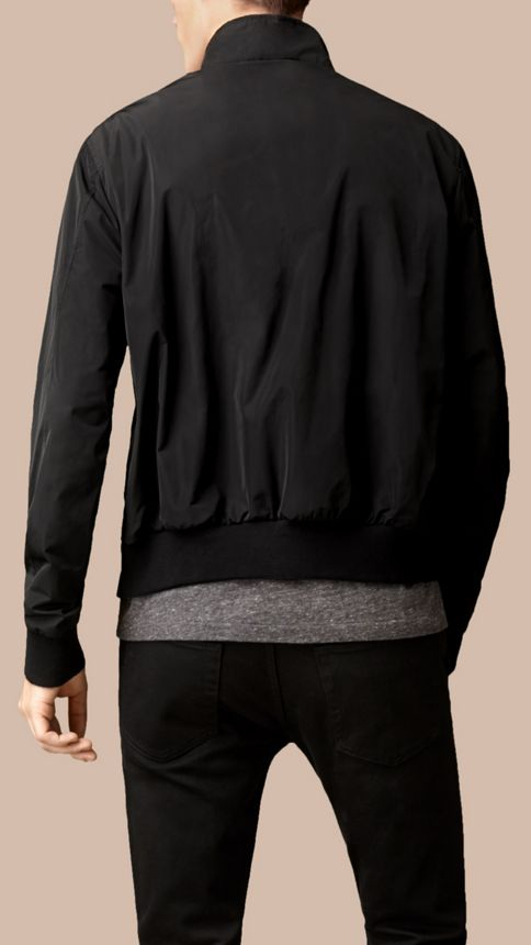 Black Zip Front Packaway Jacket Black - Image 3