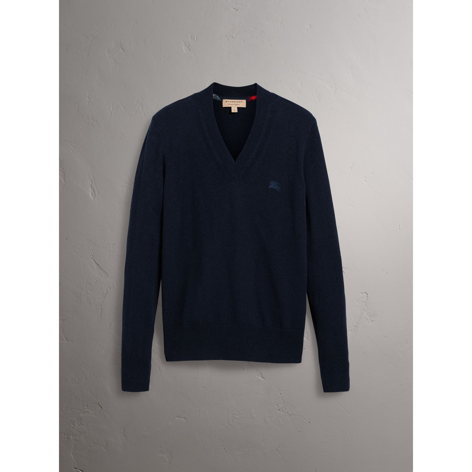 Cashmere V-neck Sweater in Navy - Men | Burberry Singapore - gallery image 3