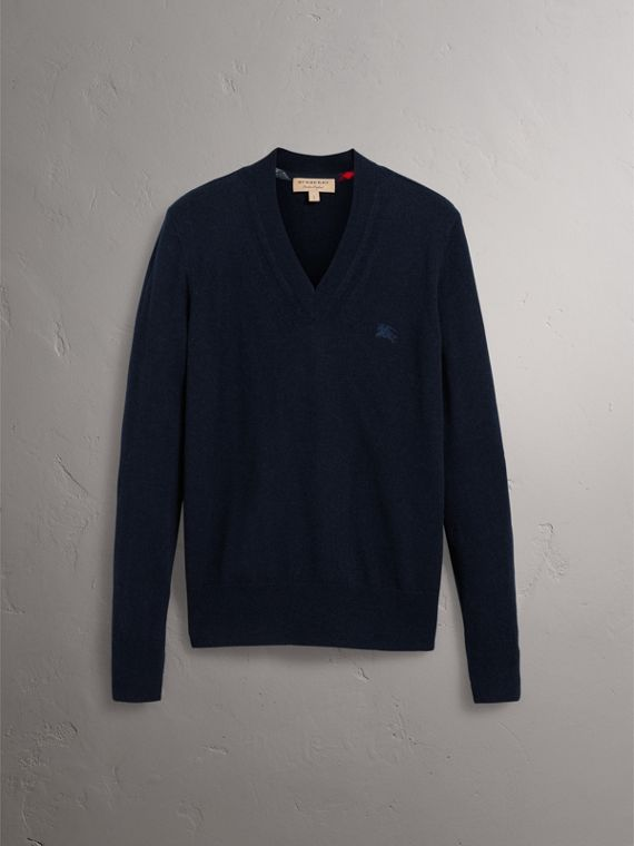 Cashmere V-neck Sweater in Navy - Men | Burberry Singapore - cell image 3