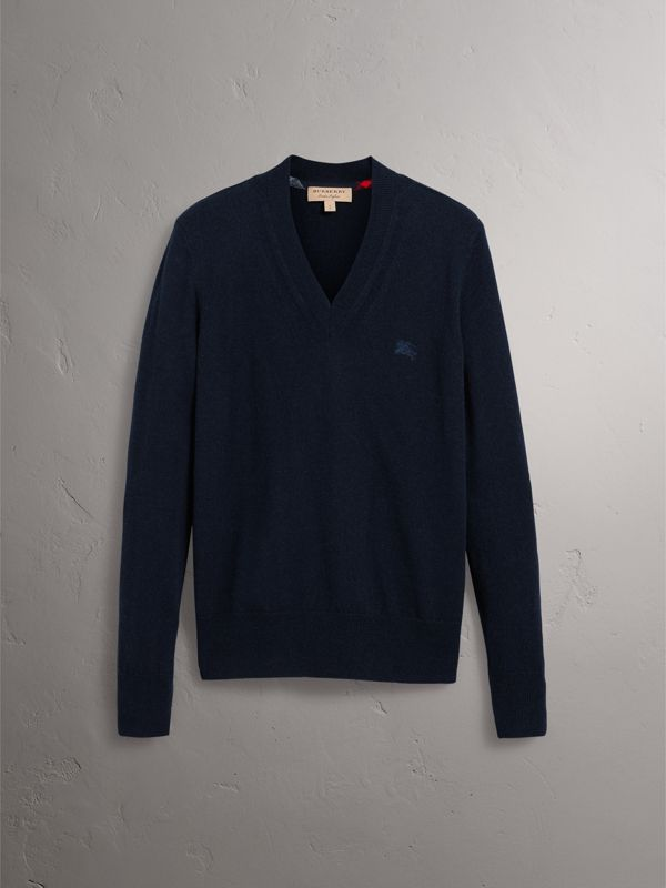 Cashmere V-neck Sweater in Navy - Men | Burberry United Kingdom - cell image 3