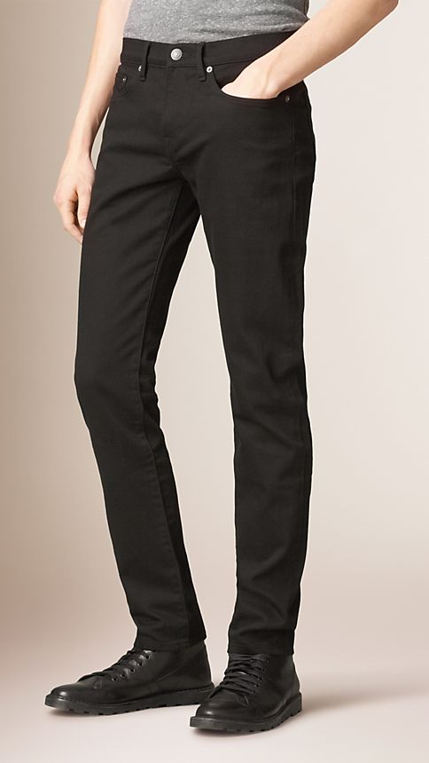 Black Slim Fit Deep Black Jeans - Image 1