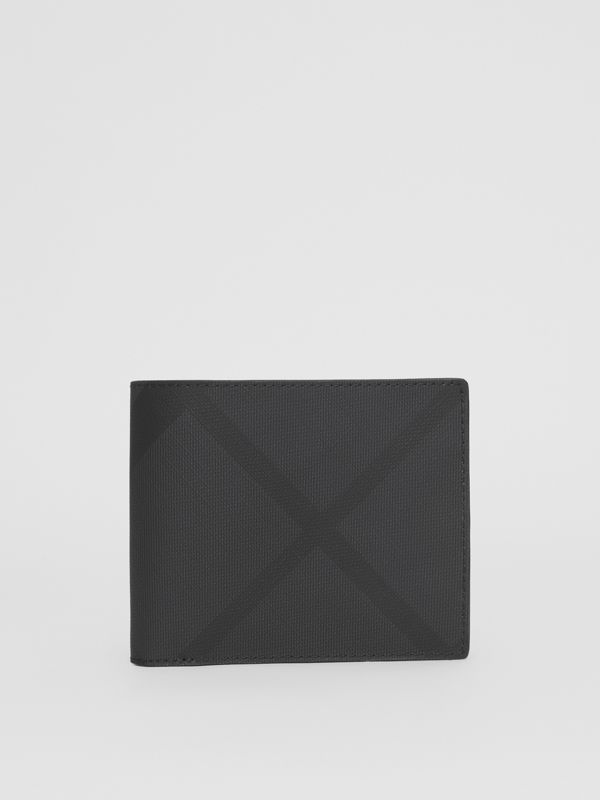 London Check Bifold Wallet with ID Card Case in Dark Charcoal - Men | Burberry - cell image 3