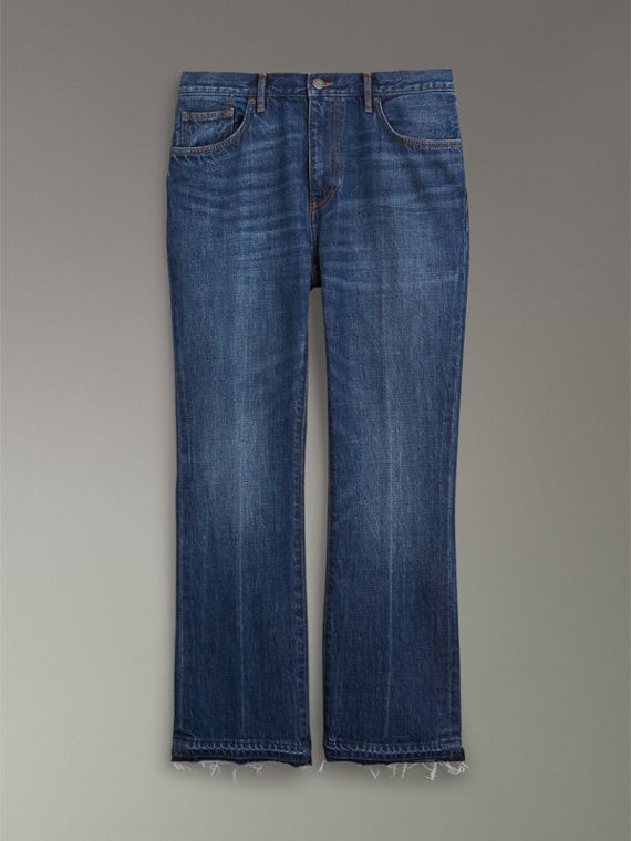 Slim Fit Bootcut Jeans in Indigo Blue - Men | Burberry United States - cell image 3