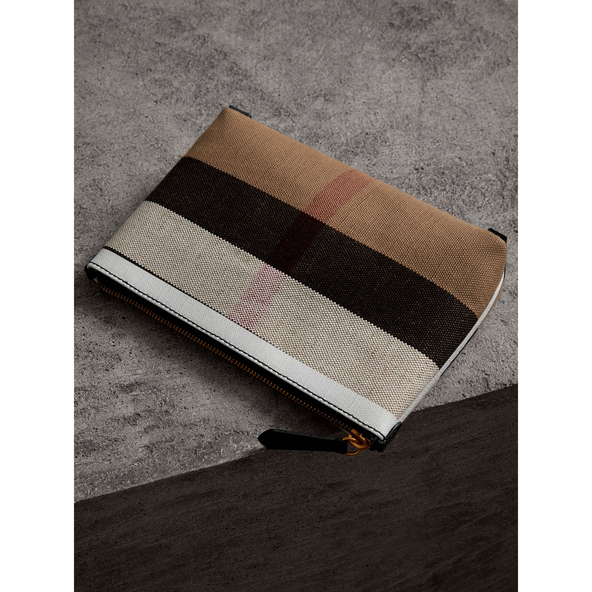 Medium Canvas Check and Leather Zip Pouch in Black/white - Women | Burberry Canada - gallery image 4
