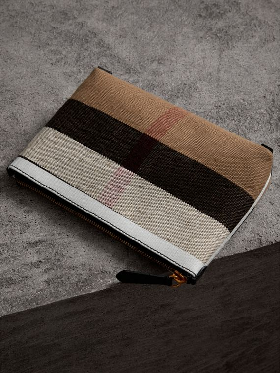 Medium Canvas Check and Leather Zip Pouch in Black/white - Women | Burberry - cell image 2