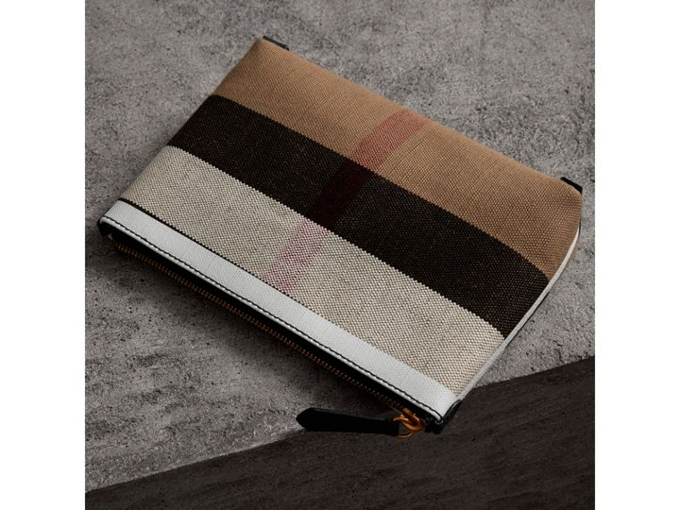 Medium Canvas Check and Leather Zip Pouch in Black/white - Women | Burberry Canada - cell image 4