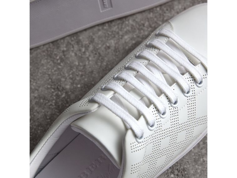 Perforated Check Leather Trainers in Optic Whit/deep Claret - cell image 1