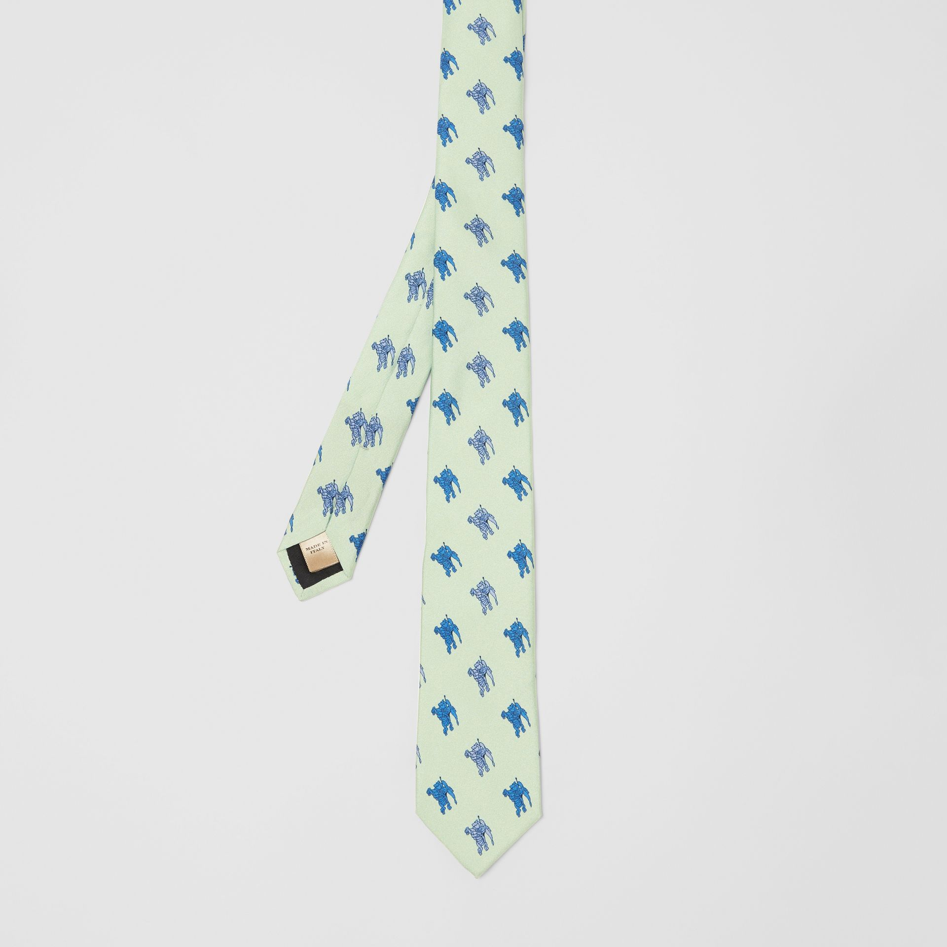 Slim Cut Equestrian Knight Print Silk Tie in Light Celadon - Men | Burberry - gallery image 3