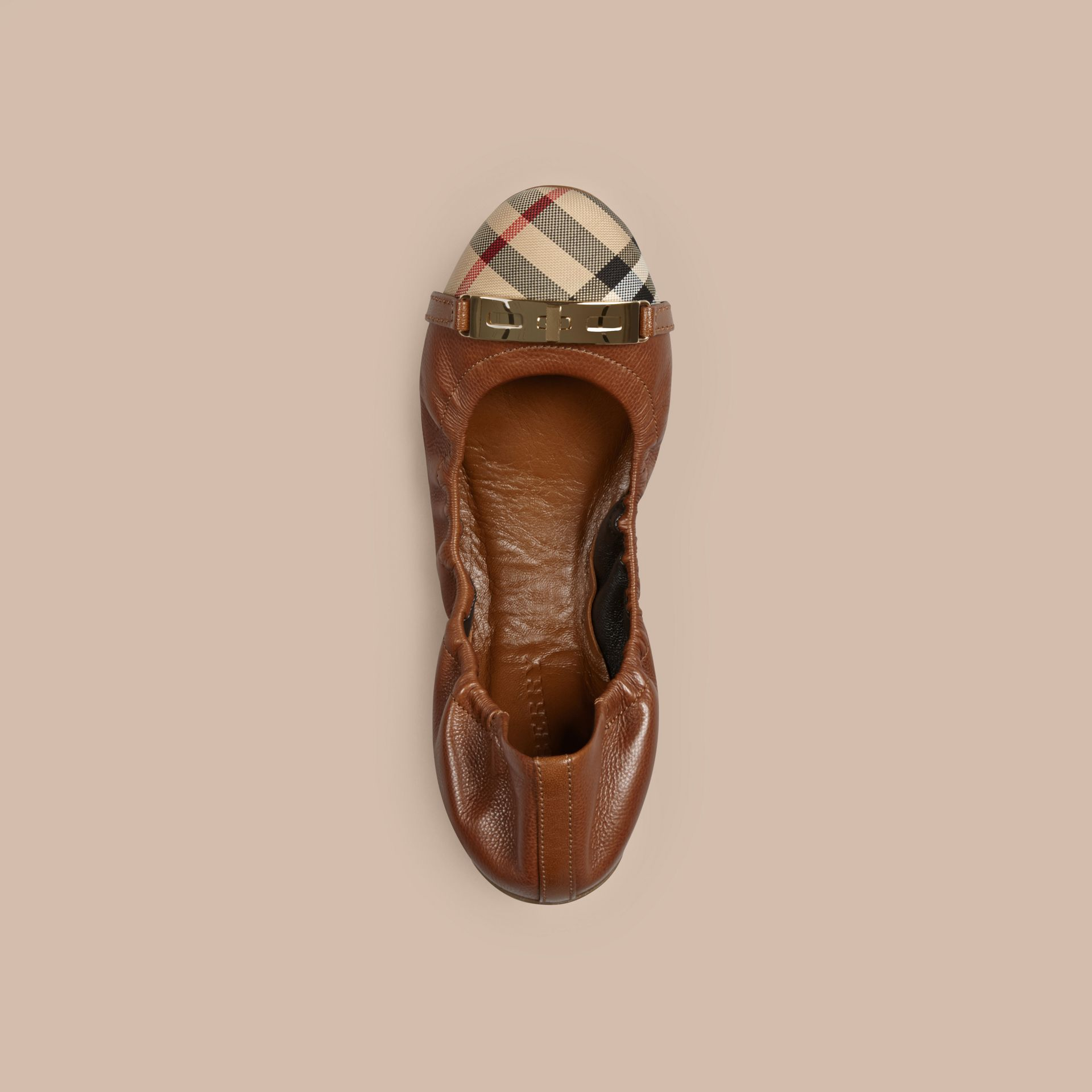 Tan Horseferry Check Leather Ballerinas Tan - gallery image 3