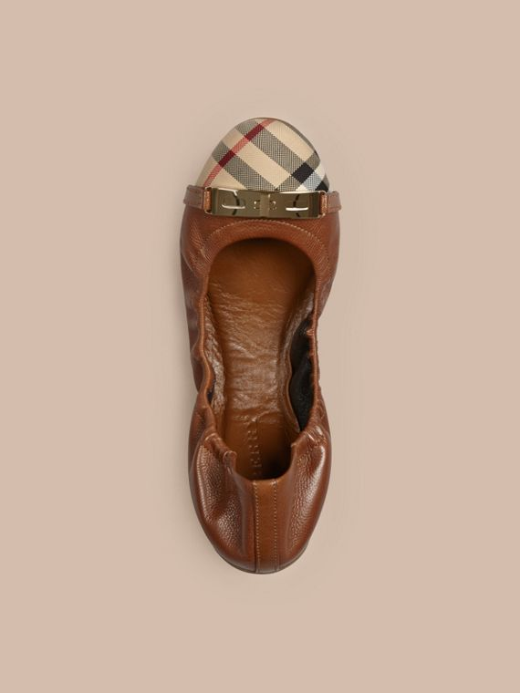 Horseferry Check Leather Ballerinas in Tan - Women | Burberry Singapore - cell image 2