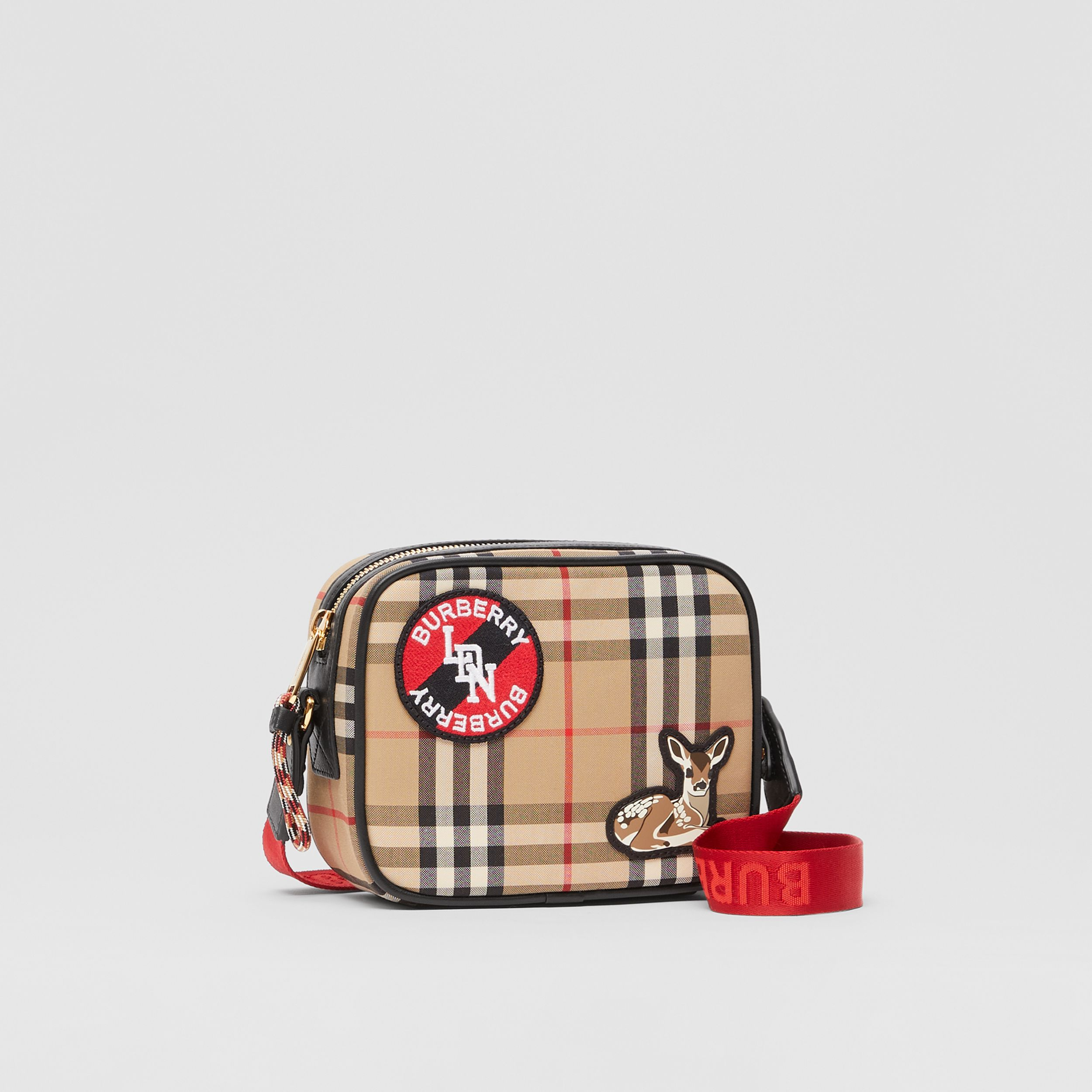 Logo Graphic Vintage Check Camera Bag in Archive Beige - Children | Burberry - 4