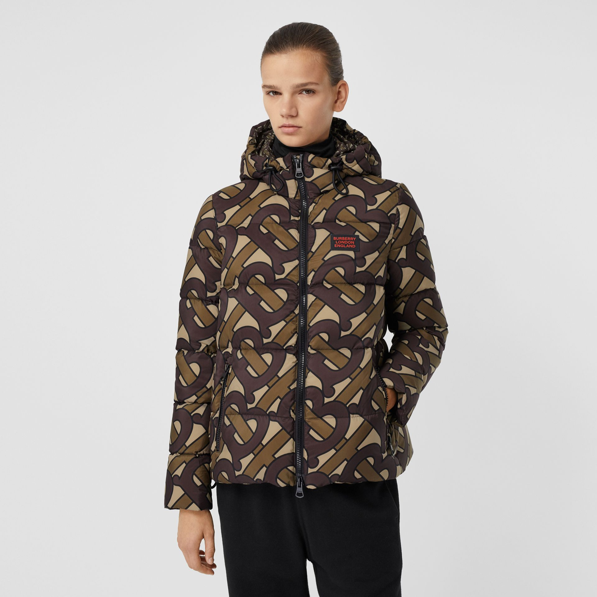 Monogram Print Hooded Puffer Jacket in Bridle Brown - Women | Burberry Singapore - gallery image 4