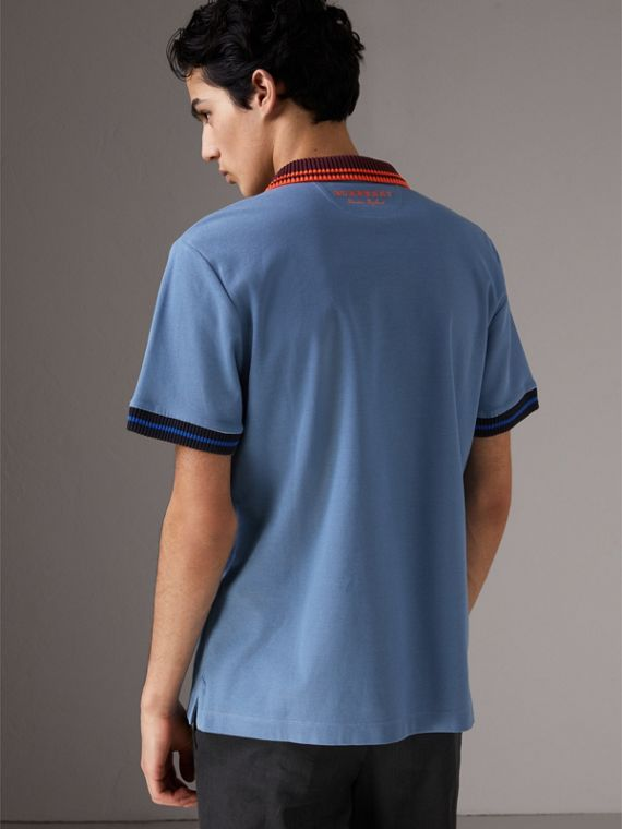 Two-tone Stripe Knitted Detail Cotton Polo Shirt in Light Blue - Men | Burberry - cell image 2
