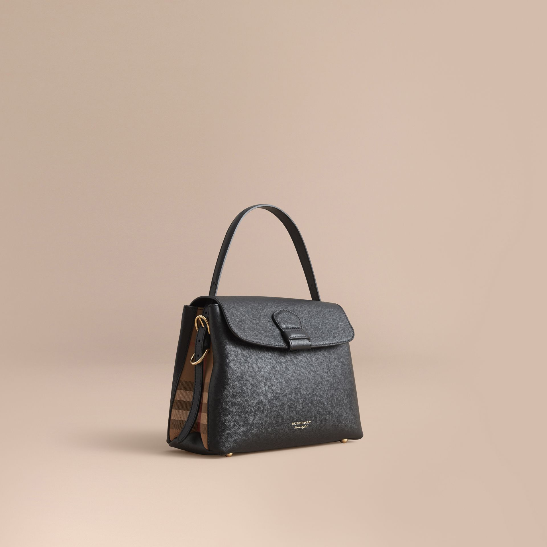 Medium Grainy Leather and House Check Tote Bag Black - gallery image 1