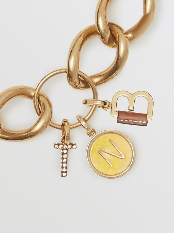 Marbled Resin 'S' Alphabet Charm in Gold/mimosa - Women | Burberry - cell image 3