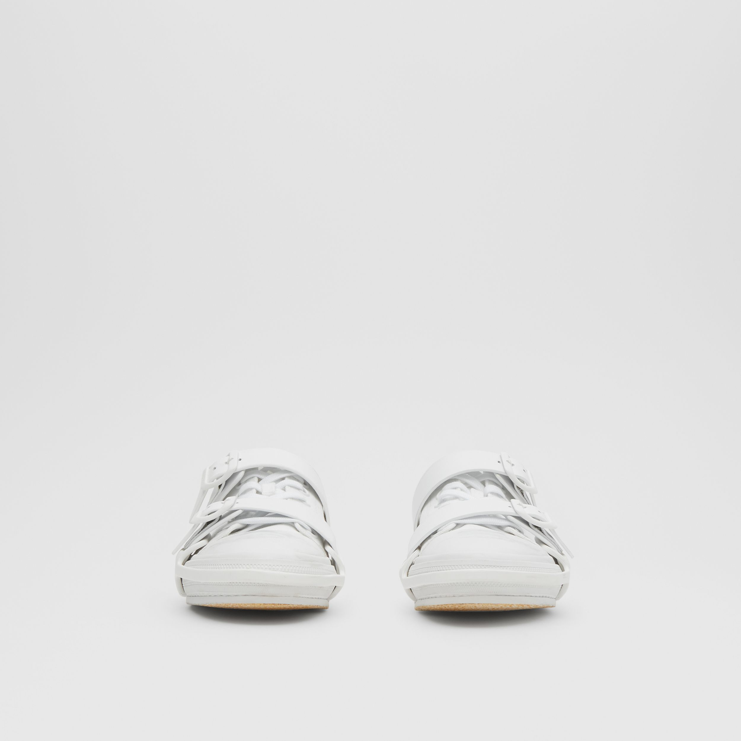 Cotton and Leather Webb Sneakers in White | Burberry - 4