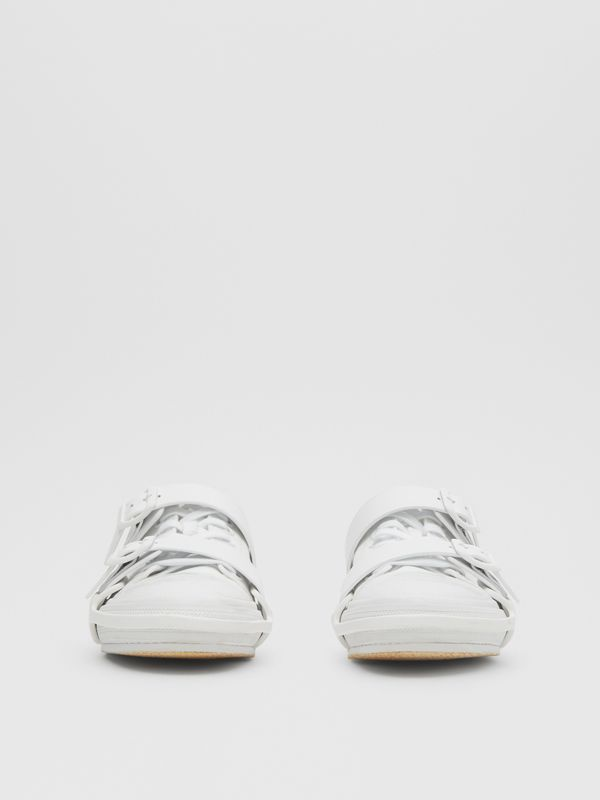 Cotton and Leather Webb Sneakers in White | Burberry United Kingdom - cell image 3