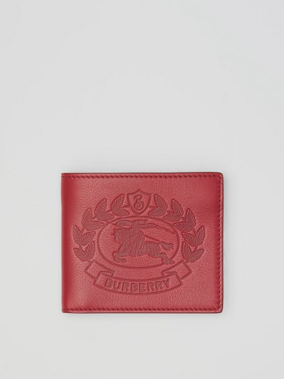 Embossed Crest Leather International Bifold Wallet in Crimson
