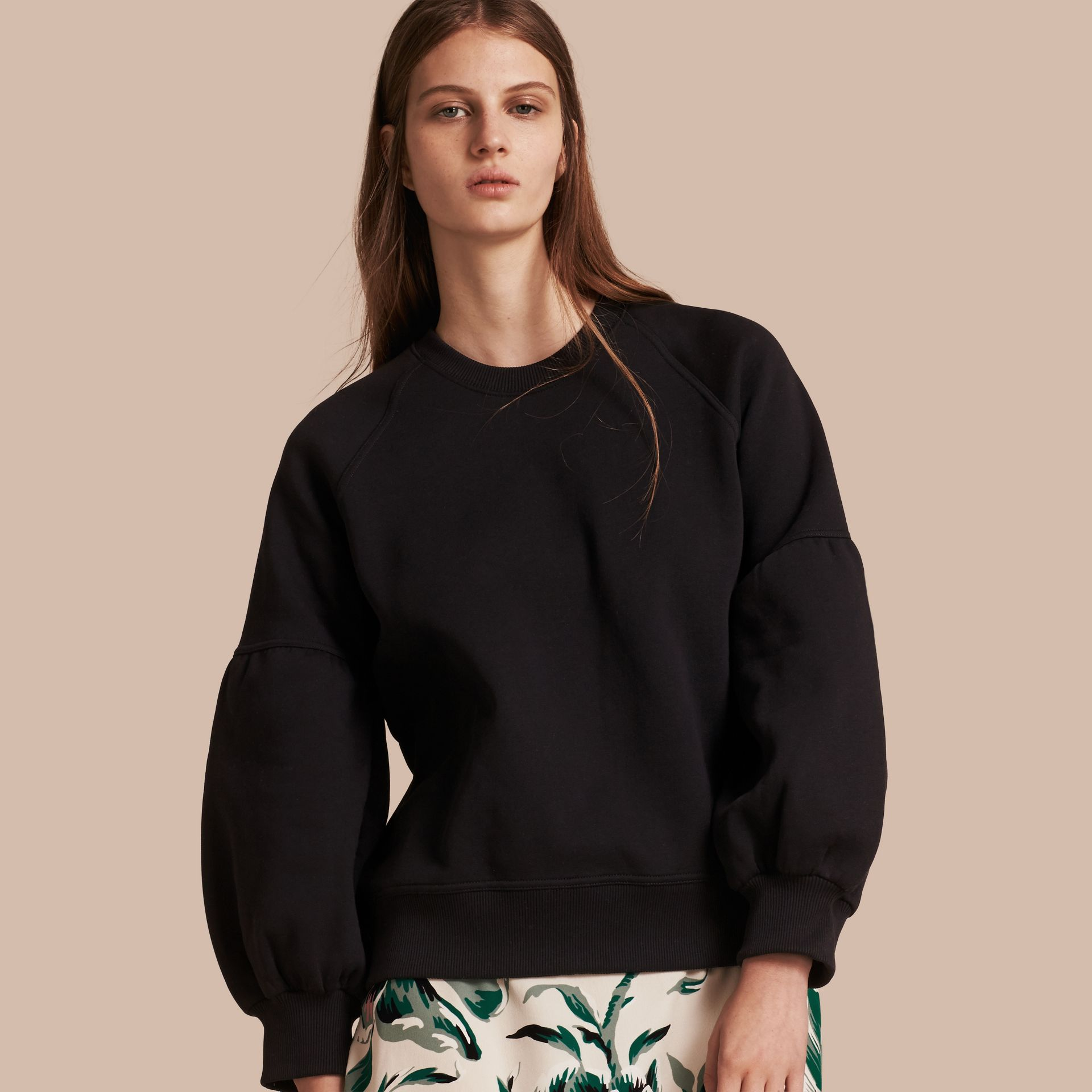 Brushed-back Jersey Sweatshirt with Bell Sleeves Black - gallery image 1