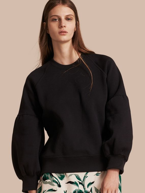 Brushed-back Jersey Sweatshirt with Bell Sleeves Black