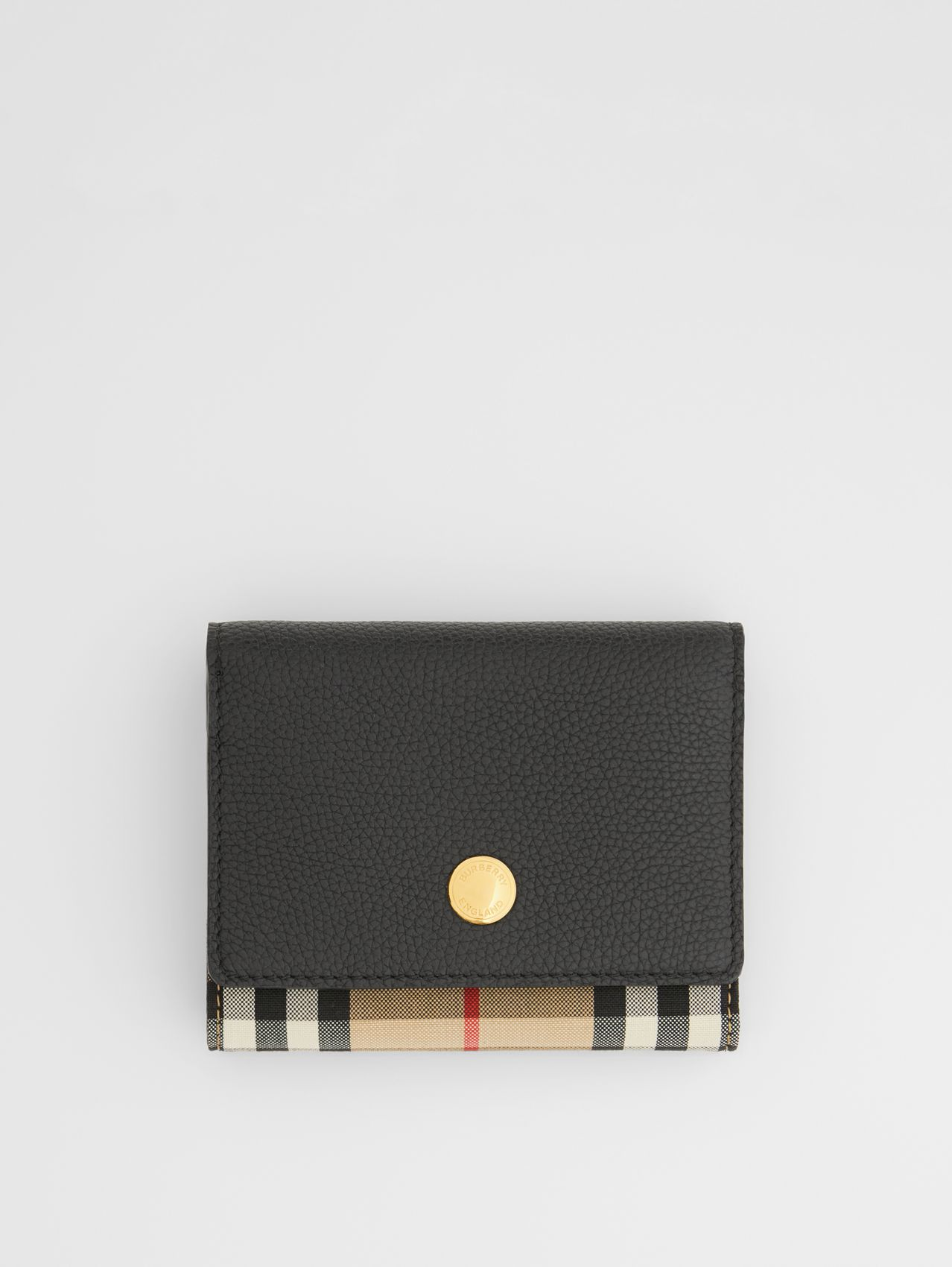 Small Vintage Check and Leather Folding Wallet (Black)