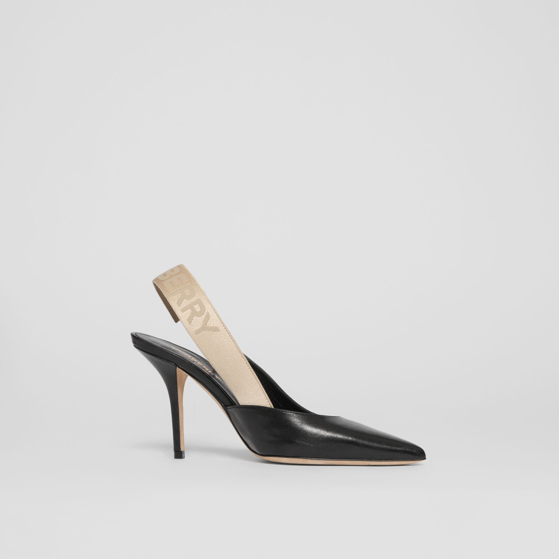 Logo Detail Lambskin Slingback Pumps in Black - Women | Burberry - gallery image 0