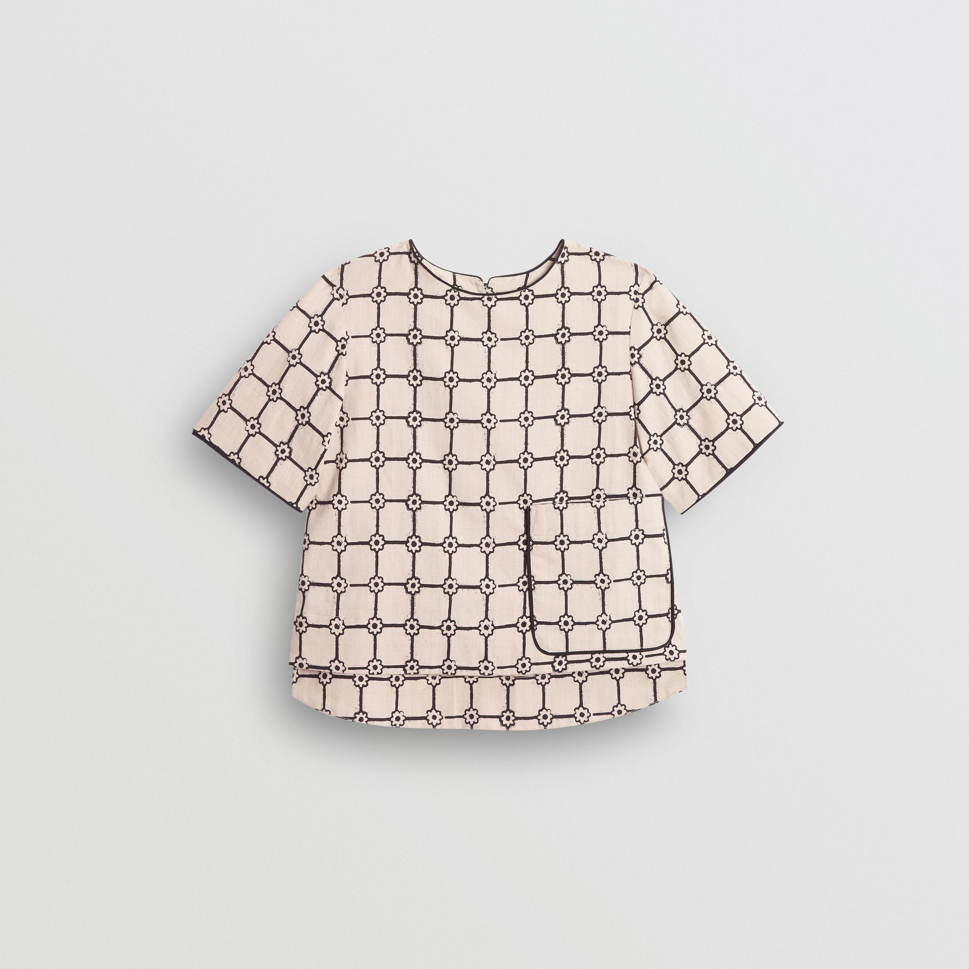 Piping Detail Flower Print Cotton Top in Stone - Children | Burberry United Kingdom - gallery image 0