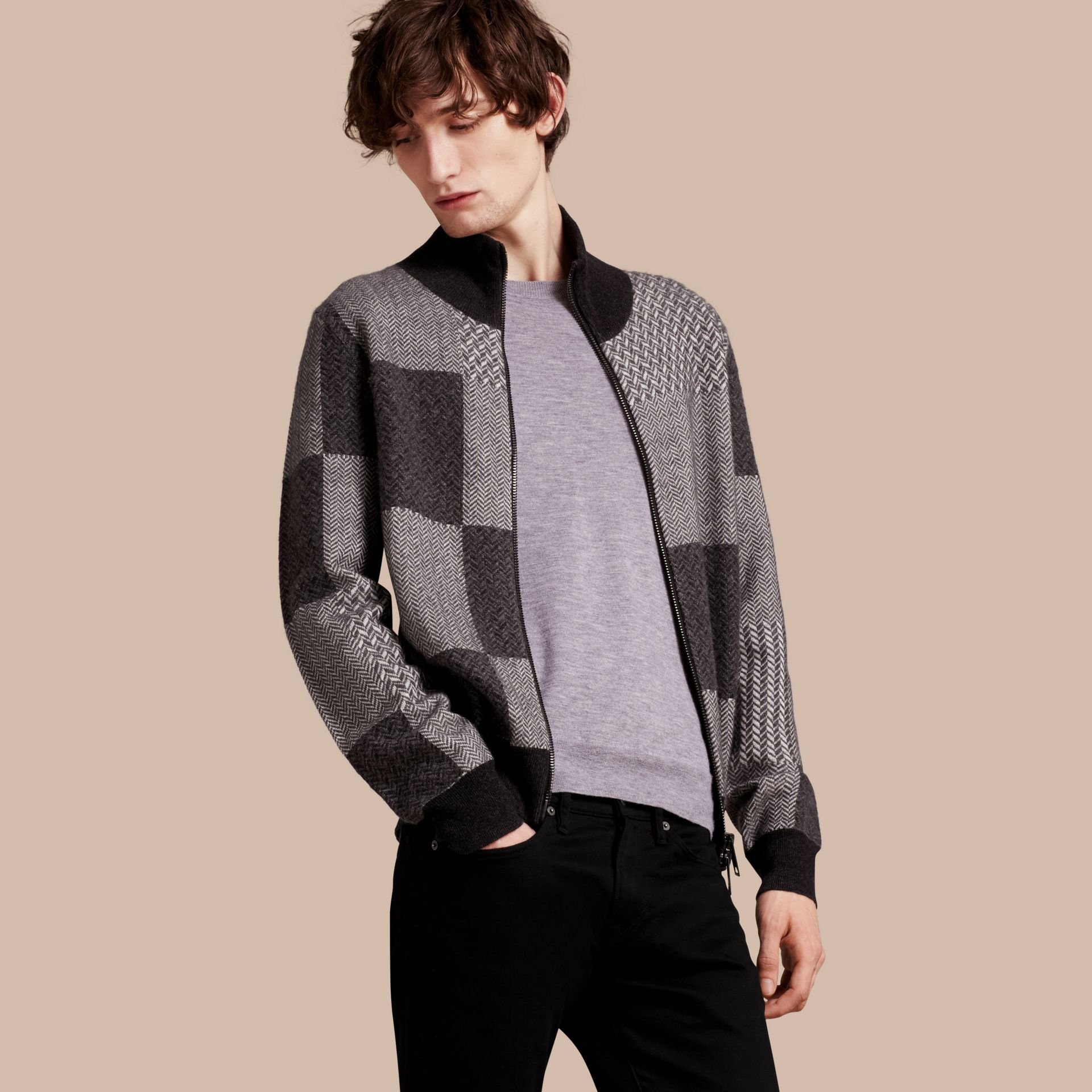 Dark grey melange Funnel Neck Cashmere Cotton Knitted Jacket - gallery image 1