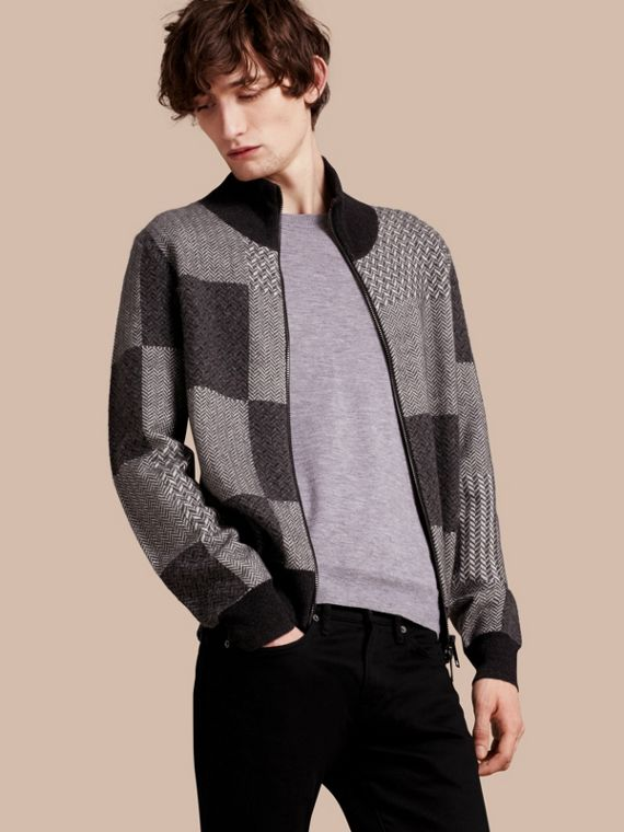 Funnel Neck Cashmere Cotton Knitted Jacket