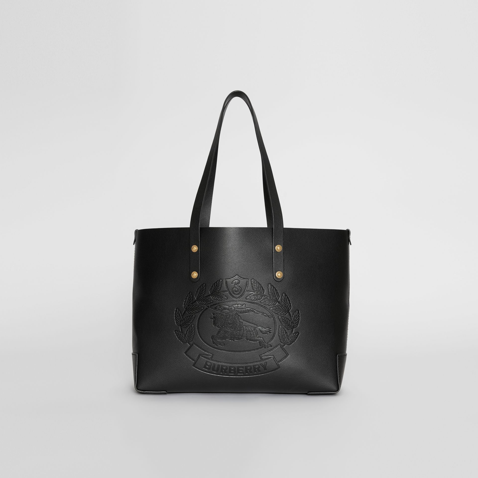 Small Embossed Crest Leather Tote in Black | Burberry - gallery image 0