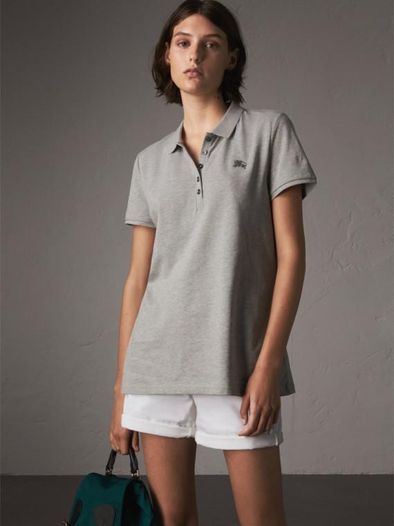 Cotton Piqué Polo Shirt in Pale Grey Melange