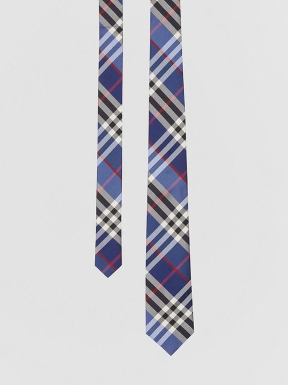 Cravate classique en jacquard de soie check (Marine)