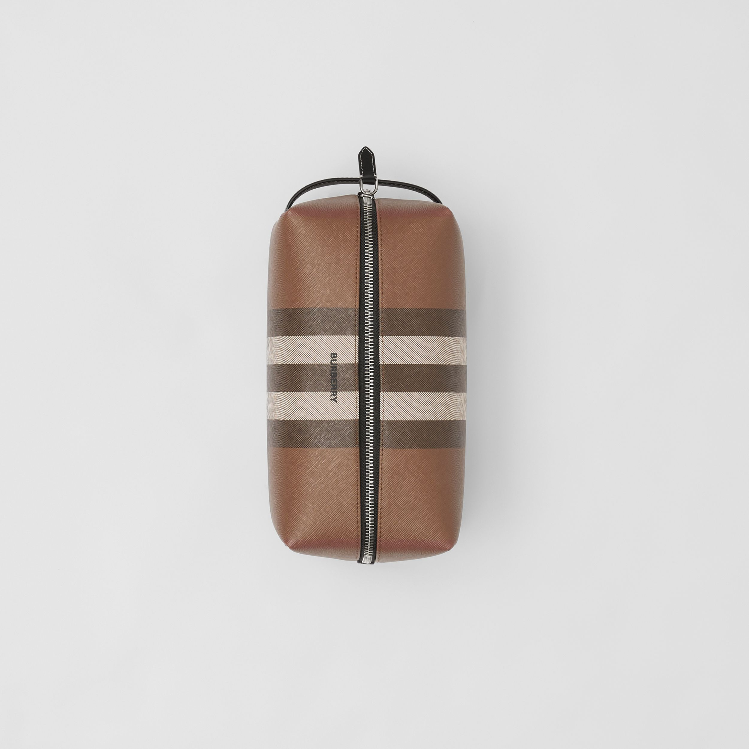Check E-canvas Travel Pouch in Dark Birch Brown - Men | Burberry Singapore - 4