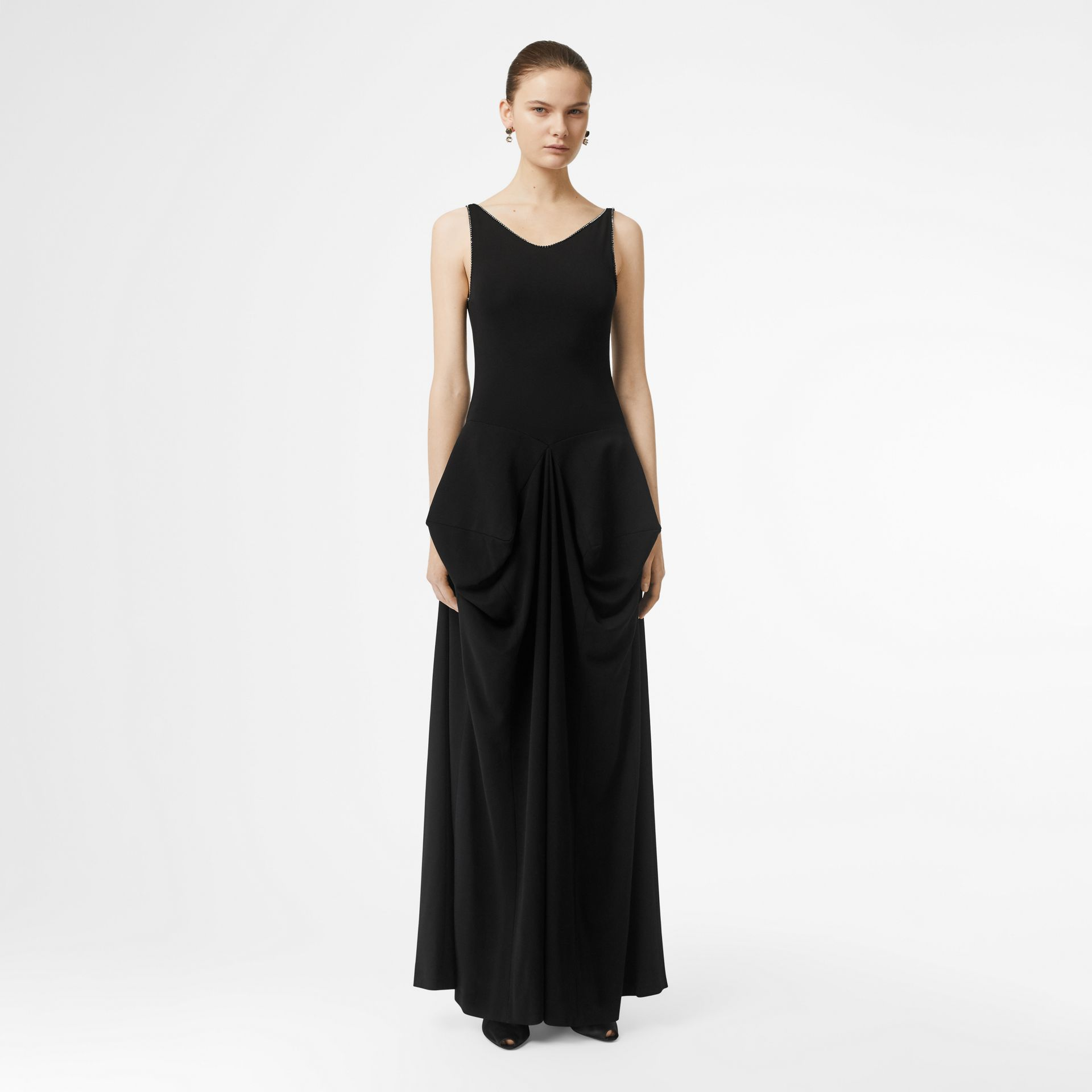 Crystal Detail Stretch Jersey Gown in Black - Women | Burberry - gallery image 0