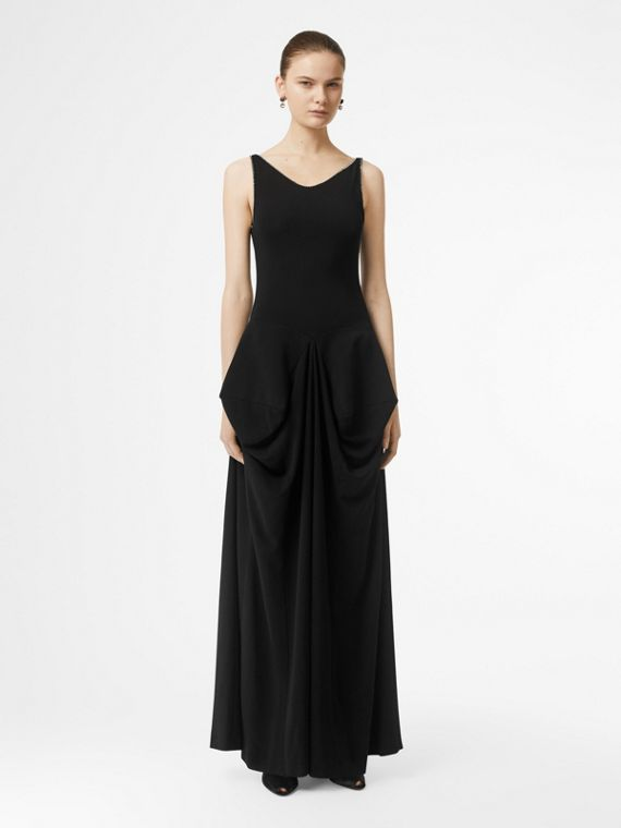 Crystal Detail Stretch Jersey Gown in Black