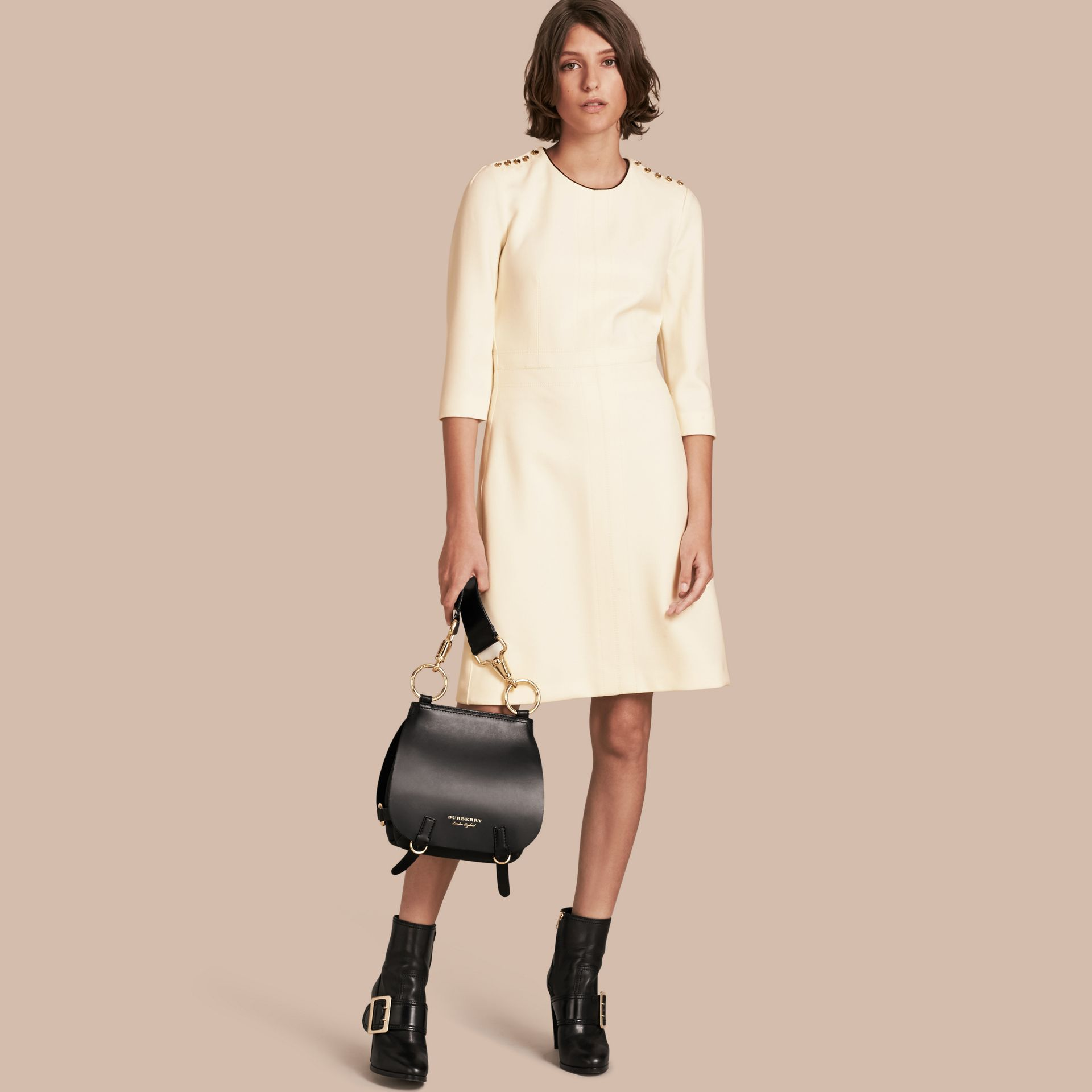 White Button Detail Wool Blend Crepe Dress - gallery image 1