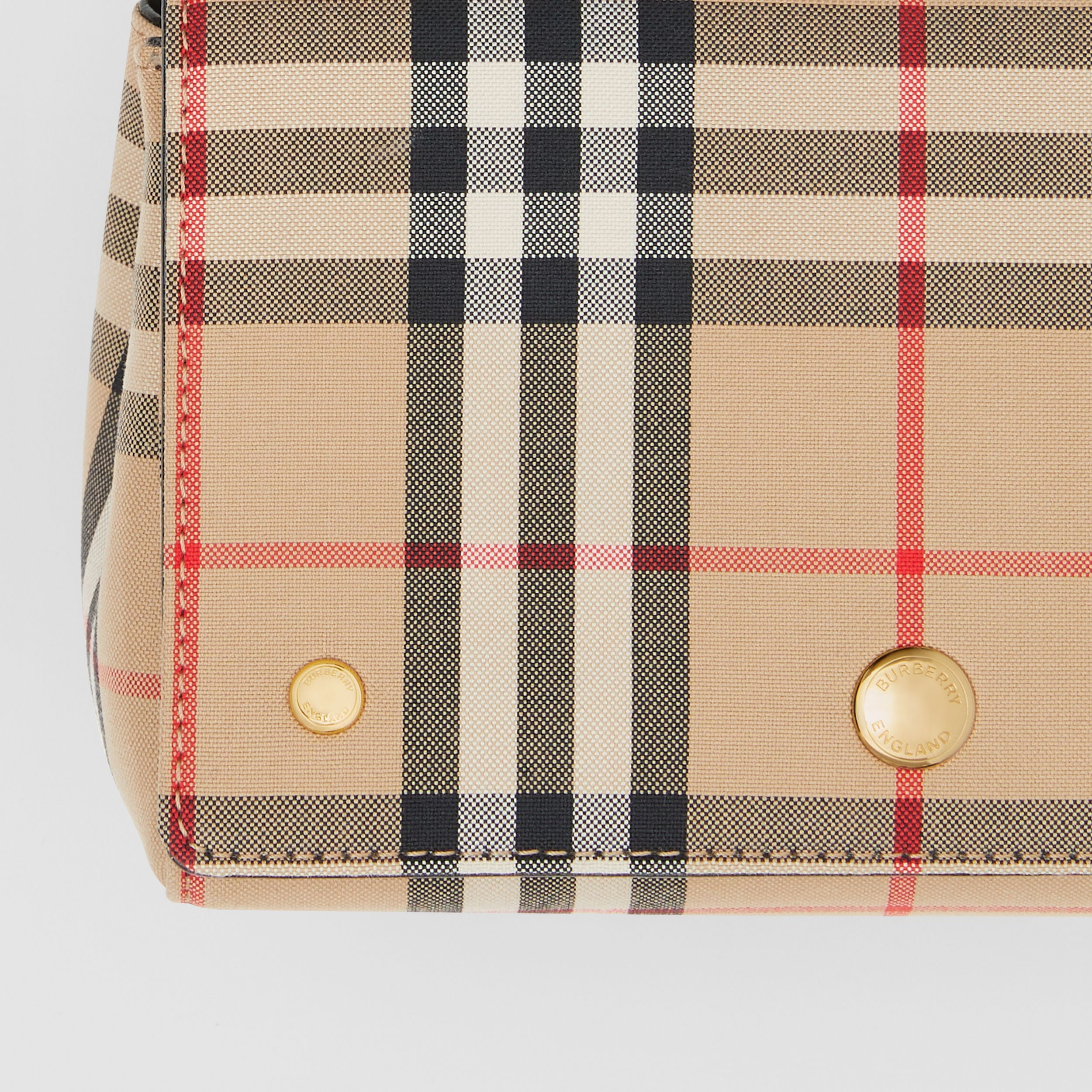 Small Vintage Check and Leather Crossbody Bag in Archive Beige/black - Women | Burberry - 2