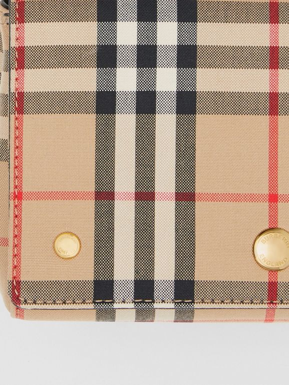 Vintage Check and Leather Note Crossbody Bag in Archive Beige/black | Burberry United Kingdom - cell image 1