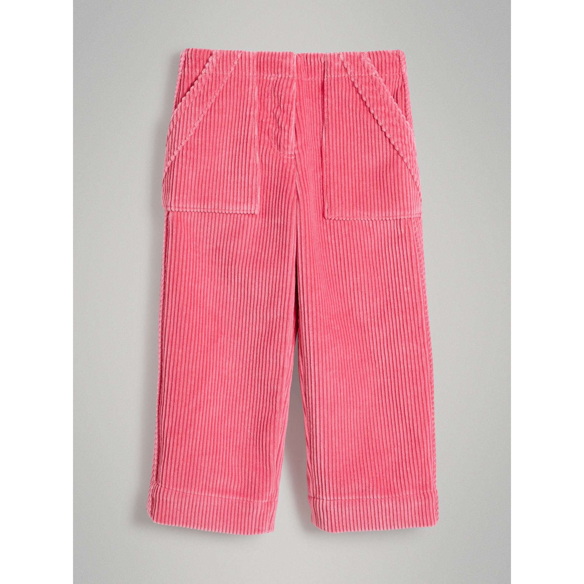 Corduroy Wide-leg Trousers in Bright Rose | Burberry - gallery image 0