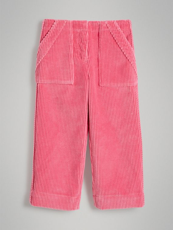 Corduroy Wide-leg Trousers in Bright Rose