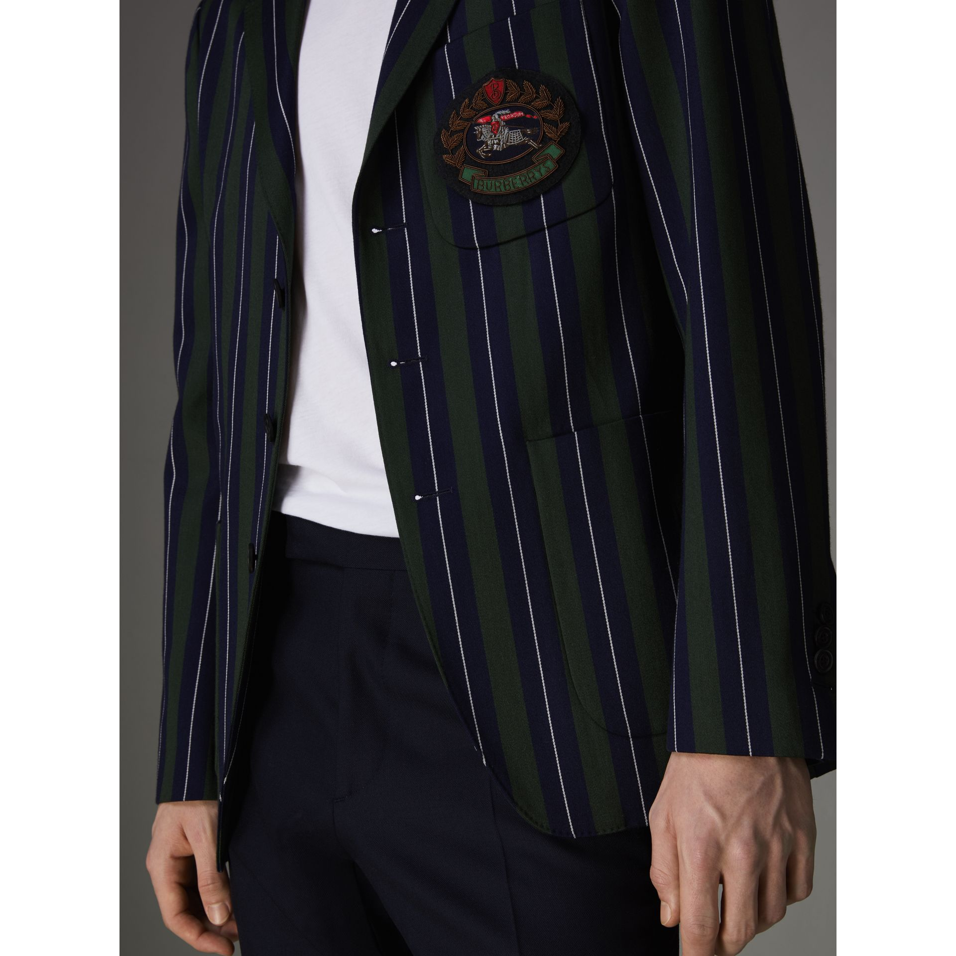 Slim Fit Striped Wool Cotton Club Blazer in Dark Forest Green - Men | Burberry United Kingdom - gallery image 1