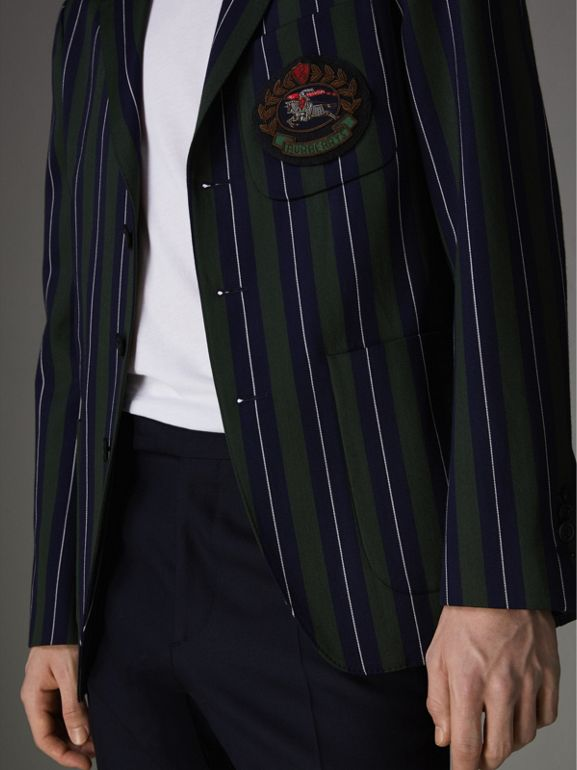 Slim Fit Striped Wool Cotton Club Blazer in Dark Forest Green - Men | Burberry United Kingdom - cell image 1