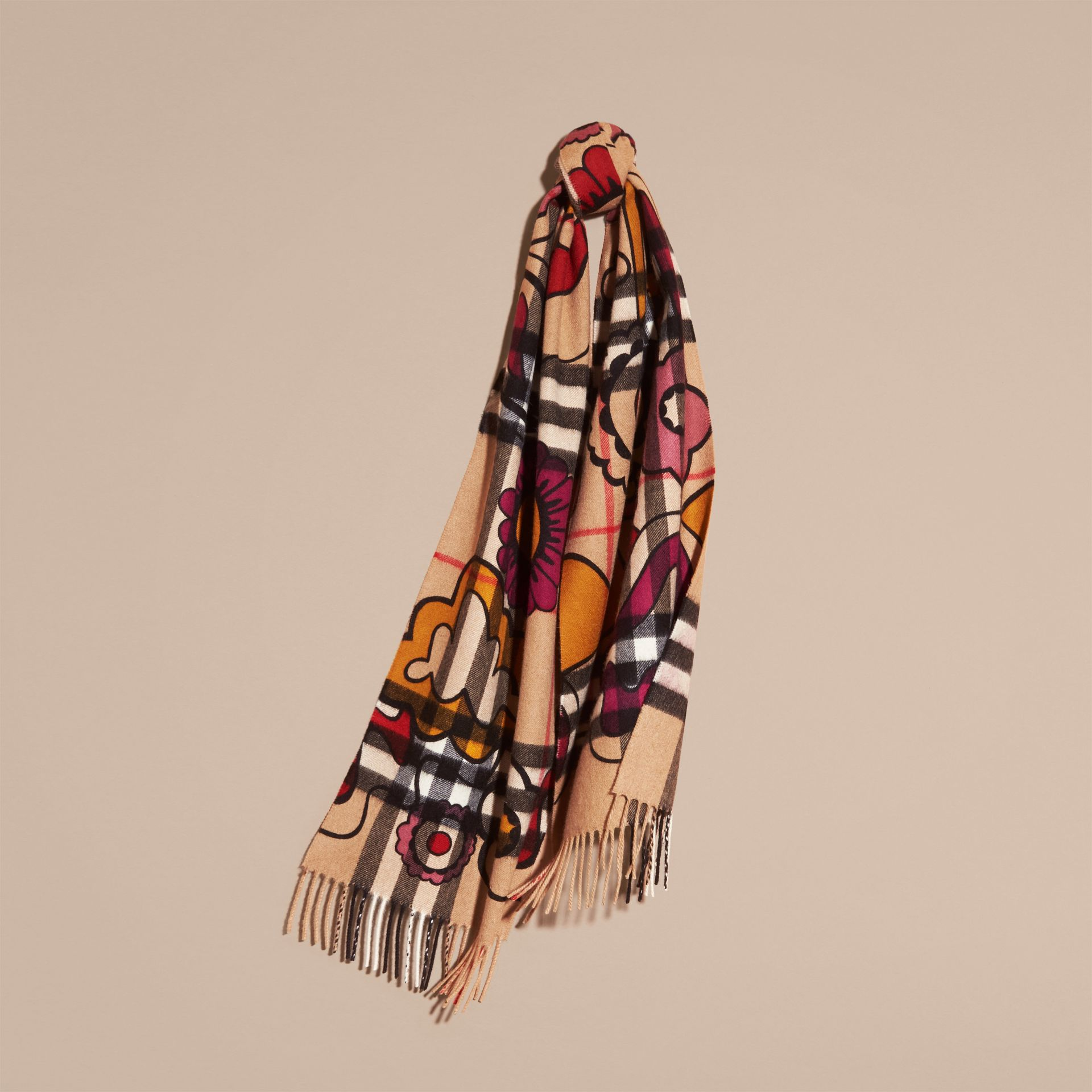 Floral Pop Print and Check Cashmere Scarf Camel/orange Red - gallery image 6